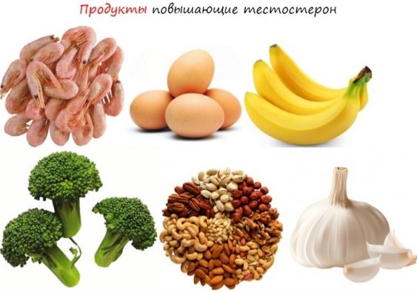 Пример продуктов - креветки, яйца, бананы, орехи